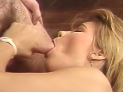Hot and sensual blonde European babe blows dick and fucks on the bed