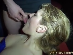 Hot wife Nicole sucks off dozens of cocks and she loves it