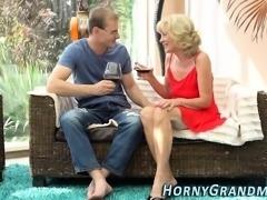 Sucking granny creampied