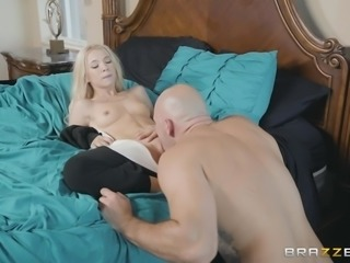 Her man comes home and he's ready to fuck. She likes his big dick, so she crawls towards him in her funny costume and blows him until he is rock hard. The spit is dripping from her mouth to his cock.