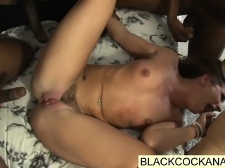 White woman submits to 4 black monster cocks