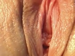 Close up view of my GF masturbating her wet juicy pussy with fingers