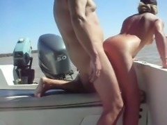 Fucking my sexy girlfriend with big booty right on a boat