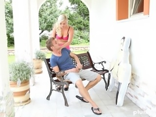 Jana with natural boobs giving monster cock stunning blowjob