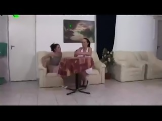 crazyamateurgirls.com - Athletic brunette lesbians hungrily eat pussy on the...