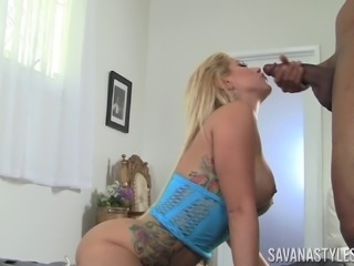 Savana Styles giving big black cock blowjob in interracial porn