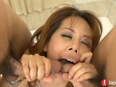 Brave big breasted babe Moe Aizawa takes double penetration for orgasm