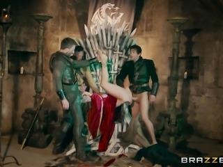Rebecca More and Ella Hughes enjoy fucking on the iron throne