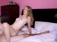 Pale small tits blonde doggystyle smashed  while yelling