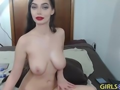 Spanish hot brunette play with big boobs make a hard show with dildo part 1