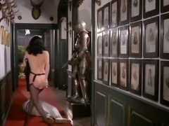Brunette young vintage girl with pale skin booty fucked from behind