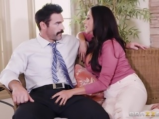 big breasted latina milf sucks cock under the desk