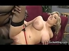 Sexy big tit wife nailed by big black cock while hubby watch 13