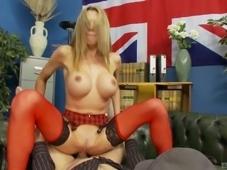 Busty blonde Myla Charles spreads her legs in stockings for a cock