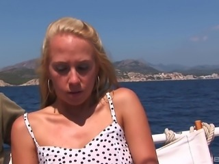 Cutie Katy Sweet having her pussy destroyed from fucking on a yacht