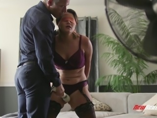Alix Lovell tied up by her man for an amazing lovemaking game
