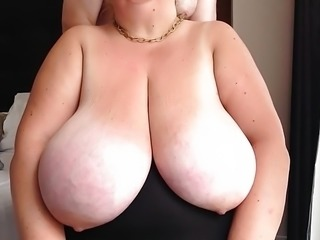 Huge breasts tied tight and fondled
