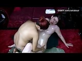 Hairy white girl wet pussy fem domination by Asian lesbian