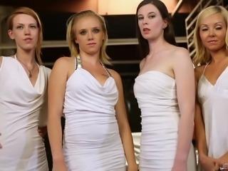 Erotic lesbian seduction between tight girls in sexy dresses