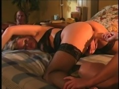 Nice ass lesbian in stockings bend over getting drilled using toy