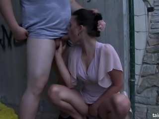 Surprising a classy clothed brunette with a cumshot in mouth