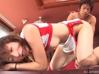 Hot sofa reverse cowgirl ride with his sweet thing Juri Kano