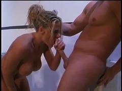 Big tits damsel taking shower then punished hardcore