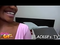 Nice black gal looks cute on cock