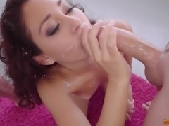 Melody Petite fucked by two men before being covered in jizz