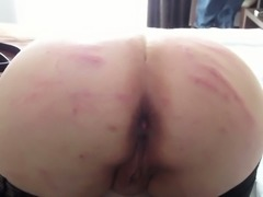 Slapped my kinky wife's fat ass with electrical wire
