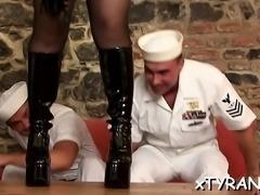 Female-dom humiliates dude during horny femdom fetish act