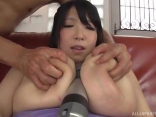 Chubby busty Japanese hoe Shizuku Amayoshi having her cunt toyed