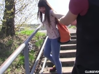 Luna Rival sucking cock then pounded hardcore outdoor