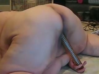 Huge grandma pleasing her pussy with big sex dildo