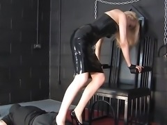 Stuning blonde latex mistress sounding cock