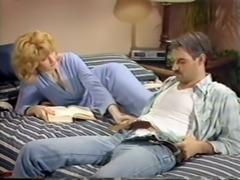 Lascivious blonde milf hottie undresses and massages her man