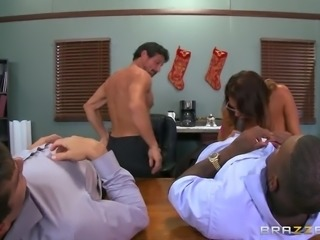 busty boss tory lane sucking three hard pricks in her office