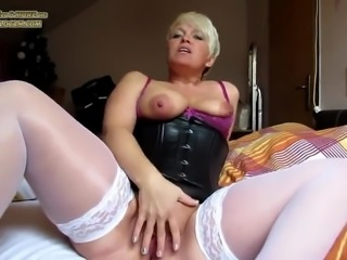 Hot milf masturbating in outfit