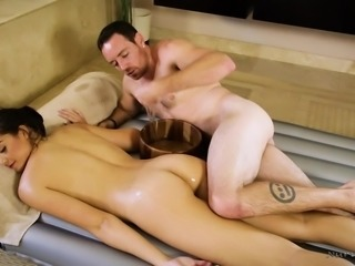 Their bodies rub together, as they slide over each other. This hot couple is covered is soap and the pleasure is unbelievable. She needs to feel his big cock deep inside of her dripping pussy. this is the way all massages should be.