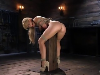Sexy Cherie gets her wet pussy penetrated, while being bound and suspended in the middle of a dark dungeon. Big nipples on her huge titties gets harder with every master's move. She loves to be bound and fucked!