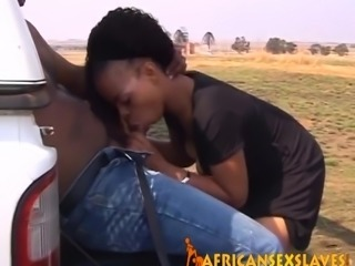 Adorable ebony sex slave is taking in a massive dick with her tight cunt