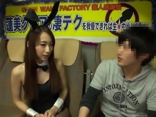 This sexy Japanese playboy bunny wants to make this Virgin feel good, so she...