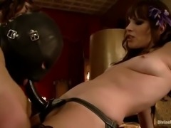 three girls have fun with one sex slave