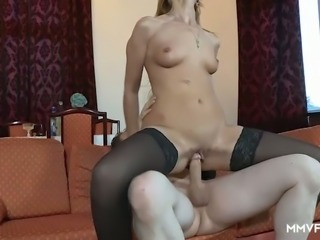 Emotional lady in stockings Liss Longlegs needs to get pussy lips stretched
