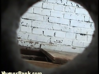 Old and dirty public restroom for ladies is spied with camera