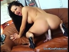 Sexy brunette slut at home toying her pussy with dildo and teasing on cam