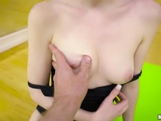 Shaved pussy Alice moaning while her anal gets fucked
