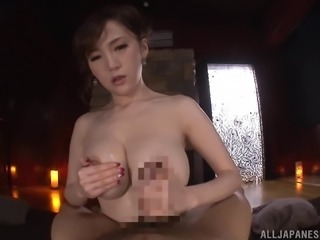 Stunning Sumire Mika milks a cock before sucking on it