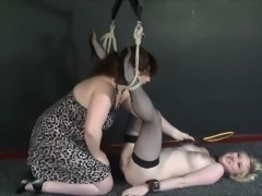New lesbian slave Satine Sparks electro bdsm and self punishment of female...