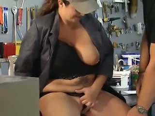 That woman is an auto mechanic and she loves fucking her clients